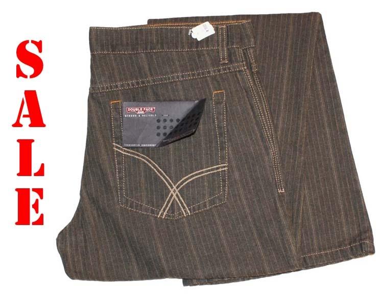 "Double face jeans   "" Krijtstreep ""  Bruin"