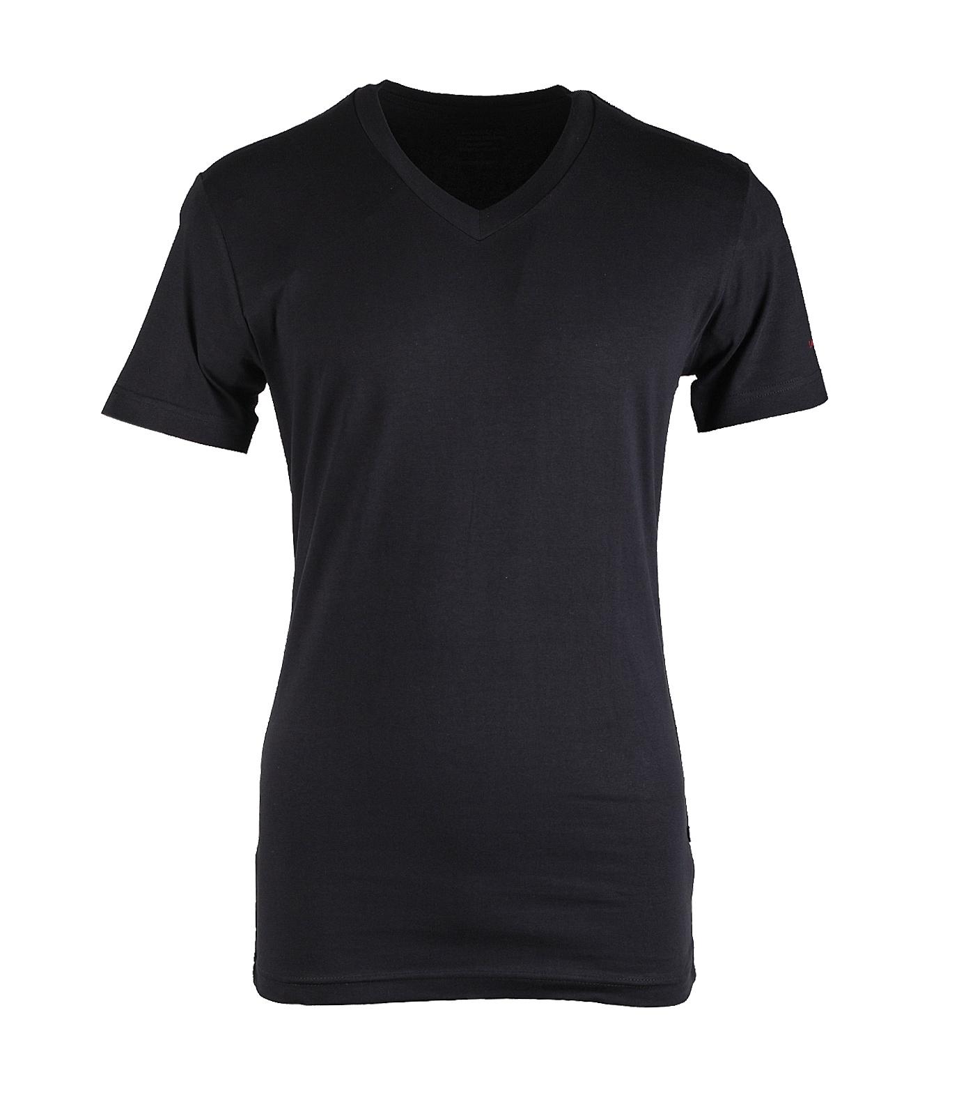 """Grote maten V-hals  T-shirt met korte mouwen  """" Zwart """""""