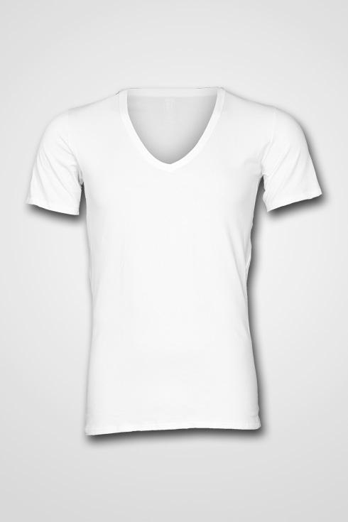"""Grote maten V-hals T-shirt met korte mouwen  """" Wit """""""